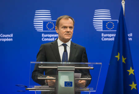 BRUSSELS, BELGIUM - Mar 17, 2016: President of the European Council Donald Tusk during a joint press conference with President of Ukraine Petro Poroshenko in Brussels