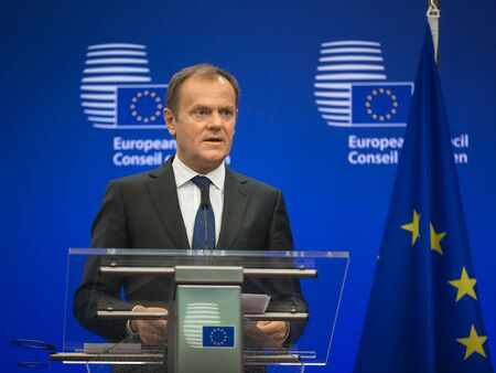 tusk: BRUSSELS, BELGIUM - Mar 17, 2016: President of the European Council Donald Tusk during a joint press conference with President of Ukraine Petro Poroshenko in Brussels