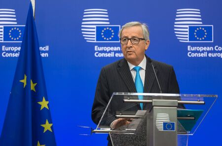 conservative: BRUSSELS, BELGIUM - Mar 17, 2016: European Commission President Jean-Claude Juncker during a joint press conference with President of Ukraine Petro Poroshenko in Brussels