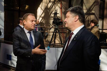 tusk: BRUSSELS, BELGIUM - Mar 17, 2016: President of Ukraine Petro Poroshenko and President of the European Council Donald Tusk during a meeting in Brussels
