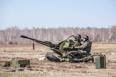 sniper training: KIEV REG, UKRAINE - Mar 26, 2016: Armed forces of Ukraine. Soldiers at the training center of the National Guard of Ukraine during the execution of the training combat mission