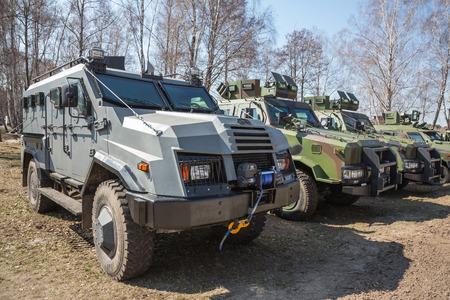 sniper training: KIEV REG, UKRAINE - Mar 26, 2016: Armed forces of Ukraine. Samples of modern armored vehicles at the landfill
