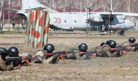 reg: KIEV REG, UKRAINE - Mar 26, 2016: Armed forces of Ukraine. Soldiers at the training center of the National Guard of Ukraine during the execution of the training combat mission