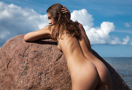 nude nature: Beauty Girl Outdoors enjoying nature. Beautiful young nude woman by the sea. Free Happy Woman.