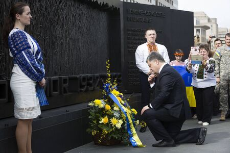 famine: WASHINGTON D.C., USA - Mar 31, 2016: Ceremony of commemoration of victims of the famine-genocide of 1923-1933 years in the Ukraine with the participation of the President of Ukraine Petro Poroshenko Editorial