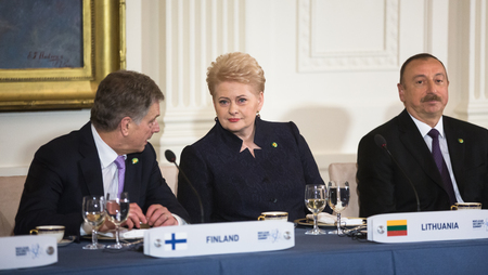 dalia: WASHINGTON D.C., USA - Mar 31, 2016: Nuclear Security Summit. President of Finland Sauli Niinisto talks with President of Lithuania Dalia Grybauskaite
