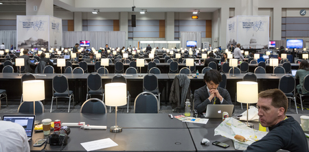 the moments: WASHINGTON D.C., USA - Mar 31, 2016: Nuclear Security Summit. Working moments in the summit press center Editorial