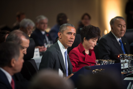 obama: WASHINGTON D.C., USA - Mar 31, 2016: United States President Barack Obama at the Nuclear Security Summit which is a world summit, aimed at preventing nuclear terrorism around the globe Editorial