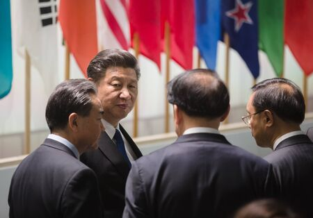 WASHINGTON DC, USA - 1 april 2016: President van de Volksrepubliek China Xi Jinping Nuclear over de top over nucleaire veiligheid in Washington. Werken momenten van de top