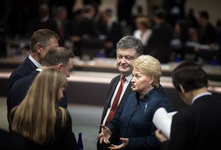 dalia: WASHINGTON D.C., USA - Apr 01, 2016: President of Lithuania Dalia Grybauskaite and President of Ukraine Petro Poroshenko at the Nuclear Security Summit in Washington