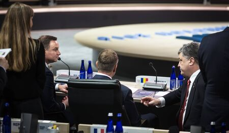 klaus: WASHINGTON D.C., USA - Apr 01, 2016: President of Ukraine Petro Poroshenko, President of Poland Andrzej Duda, Romanian President Klaus Werner Iohannis at the Nuclear Security Summit in Washington Editorial