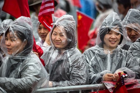 activists: WASHINGTON D.C., USA - Apr 01, 2016: A peaceful demonstration of Chinese activists during the Nuclear Security Summit in Washington, DC