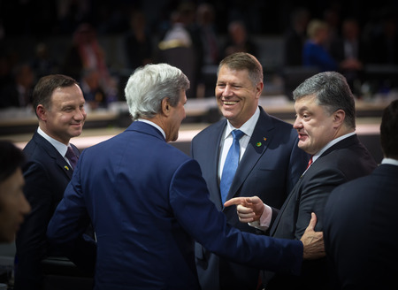 klaus: WASHINGTON D.C., USA - Apr 01, 2016: President of Ukraine Petro Poroshenko, President of Poland Andrzej Duda, Romanian President Klaus Werner Iohannis and John Kerry at the Nuclear Security Summit
