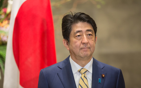 prime: TOKYO, JAPAN - Apr 06, 2016: Japanese Prime Minister Shinzo Abe during his meeting with President of Ukraine Petro Poroshenko in Tokyo