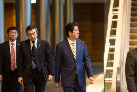 abe: TOKYO, JAPAN - Apr 06, 2016: Japanese Prime Minister Shinzo Abe during his meeting with President of Ukraine Petro Poroshenko in Tokyo