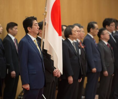 abe: TOKYO, JAPAN - Apr 06, 2016: Japanese Prime Minister Shinzo Abe during his meeting with President of Ukraine Petro Poroshenko in Tokyo