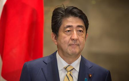 TOKYO, JAPAN - Apr 06, 2016: Japanese Prime Minister Shinzo Abe during his meeting with President of Ukraine Petro Poroshenko in Tokyo