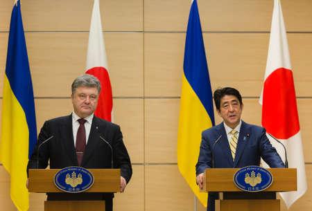 abe: TOKYO, JAPAN - Apr 06, 2016: President of Ukraine Petro Poroshenko during his meeting with Japanese Prime Minister Shinzo Abe in Tokyo