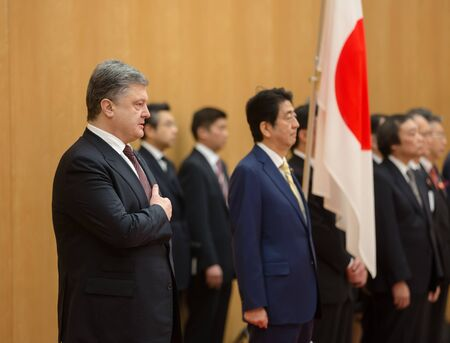 abe: TOKYO, JAPAN - Apr 06, 2016: Meeting between President of Ukraine Petro Poroshenko and Prime Minister of Japan Shinzo Abe, in Tokyo