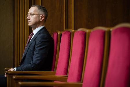 rada: KIEV, UKRAINE - Apr 14, 2016: Head of Presidential Administration of Ukraine Borys Lozhkyn during the session of the Verkhovna Rada of Ukraine in Kiev