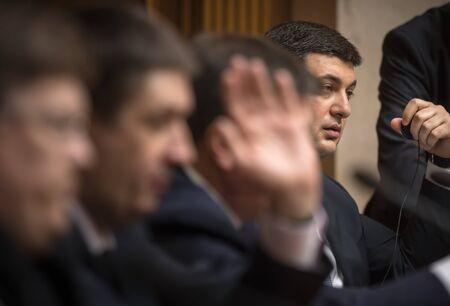 rada: KIEV, UKRAINE - Apr 14, 2016: Prime Minister of Ukraine Vladimir Groisman during the session of the Verkhovna Rada of Ukraine in Kiev Editorial