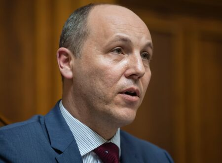 rada: KIEV, UKRAINE - Apr 14, 2016: Chairman of the Verkhovna Rada of Ukraine Andriy Paruby during the session of the Verkhovna Rada of Ukraine
