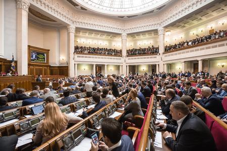 rada: KIEV, UKRAINE - Apr 14, 2016: Prime Minister of Ukraine Vladimir Groisman at the session of the Verkhovna Rada of Ukraine Editorial