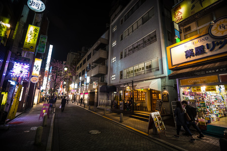 TOKYO, JAPAN - Apr 06, 2016: The streets and night lights of Tokyo. Tokyo - Japans capital, administrative, financial, cultural, commercial and political center. The largest city economy in the world Editorial