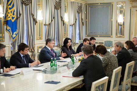 neighbourhood: KIEV, UKRAINE - Apr 20, 2016: Meeting of European Commissioner for European Neighbourhood Policy and Enlargement Negotiations Johannes Hahn with the President of Ukraine Petro Poroshenko Editorial
