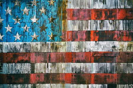 rusty fence: Stylized image of the American flag on a rusty fence