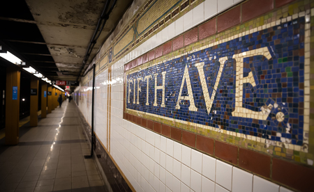 fifth: Mosaic sign at The Fifth Avenue Subway Station in Manhattan
