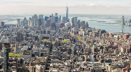 broadway tower: New York City and New Jersey skyline. Manhattan viewed from Empire State Building