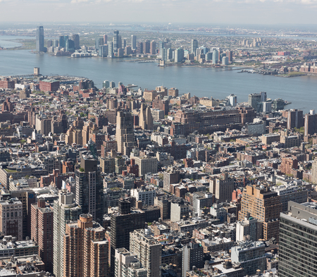 broadway tower: Manhattan Streets viewed from Empire State Building Stock Photo