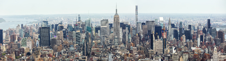 NEW YORK, USA - Apr 28, 2016: New York City Manhattan midtown aerial panorama view with skyscrapers Publikacyjne
