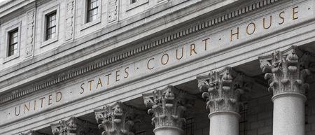 Stany Zjednoczone Court House. Fasada budynku sądu z kolumnami, dolnym Manhattanie, Nowy Jork Publikacyjne