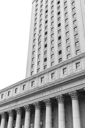 new rules: Black and white image of United States Court House. Courthouse facade with columns, lower Manhattan, New York