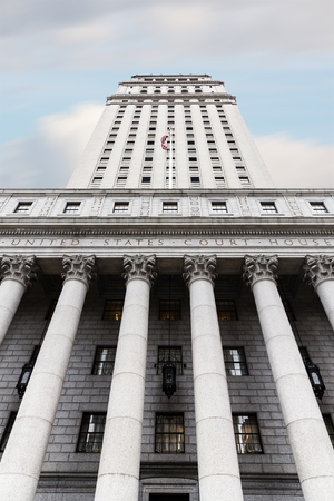 roman pillar: United States Court House. Courthouse facade with columns, lower Manhattan, New York Editorial
