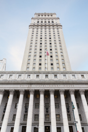 derecho romano: United States Court House. Courthouse facade with columns, lower Manhattan, New York Editorial