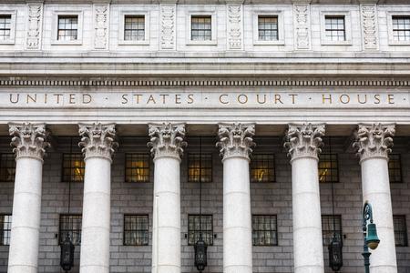 United States Court House. Gerechtsgebouw gevel met zuilen, Lower Manhattan, New York