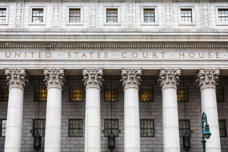 United States Court House. Courthouse facade with columns, lower Manhattan, New York Editorial