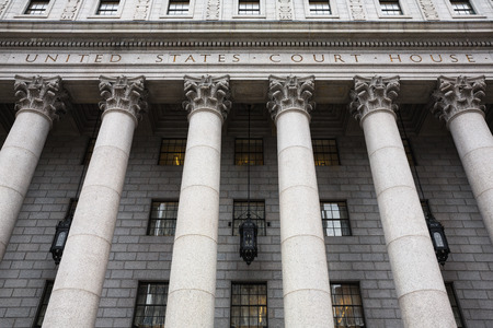 United States Court House. Courthouse facade with columns, lower Manhattan, New York Редакционное
