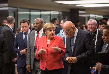 salam: ISTANBUL, TURKEY - May 23, 2016:  German Chancellor Angela Merkel and Prime Minister of Lebanon Tammam Salam during World Humanitarian summit in Istanbul