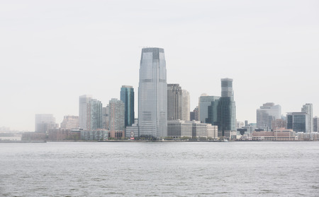 sea life centre: NEW JERSEY, USA - Apr 28, 2016: Jersey City and river Hudson on a foggy day. Jersey City is the second most populous city in the U.S. state of New Jersey after Newark. Editorial