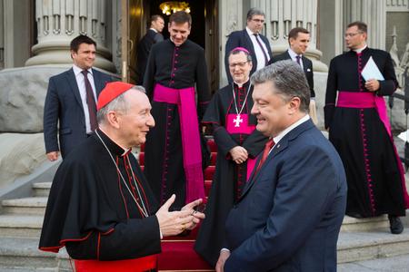eminence: KIEV, UKRAINE - Jun 17, 2016: Meeting the President of Ukraine Petro Poroshenko with the Vatican Secretary of State Cardinal Pietro Parolin Editorial