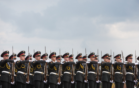 eminence: KIEV, UKRAINE - Jun 15, 2016: A guard of honor during a meeting of Secretary of State of the Holy See Cardinal Pietro Parolin Editorial