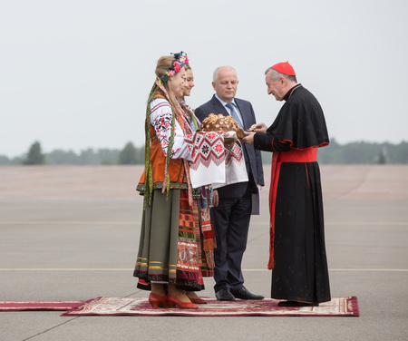 eminence: KIEV, UKRAINE - Jun 15, 2016: First Vice Prime Minister of Ukraine Stepan Kubiv and Secretary of State of the Holy See, Cardinal Pietro Parolin, during a meeting at the airport