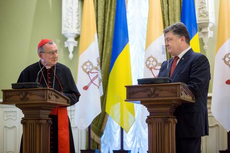 advisers: KIEV, UKRAINE - Jun 17, 2016: Meeting the President of Ukraine Petro Poroshenko with the Vatican Secretary of State Cardinal Pietro Parolin Editorial