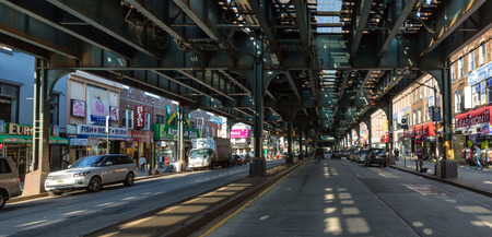 oceanside: NEW YORK, USA - Apr 28, 2016: Brighton Beach avenue. Brighton Beach is an oceanside neighborhood in the southern portion of the New York City borough of Brooklyn