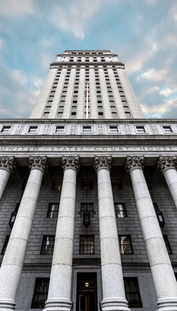 new rules: NEW YORK, USA - Apr 28, 2016: United States Court House. Courthouse facade with columns, lower Manhattan, New York
