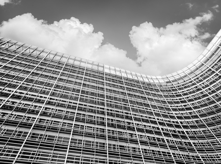 eec: BRUSSELS, BELGIUM - Jun 27, 2016: The Berlaymont is an office building that houses the headquarters of the European Commission. Black and white image